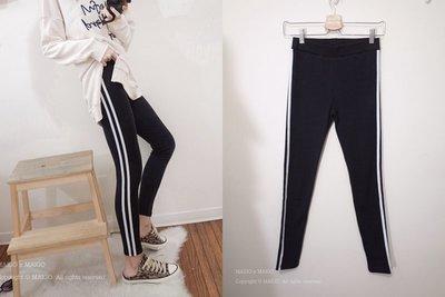 MAIGO ♥ 現貨 韓國 Korea 棉筆直腿側線條彈性舒服內搭褲 黑色 #厚棉 #S-XL可穿