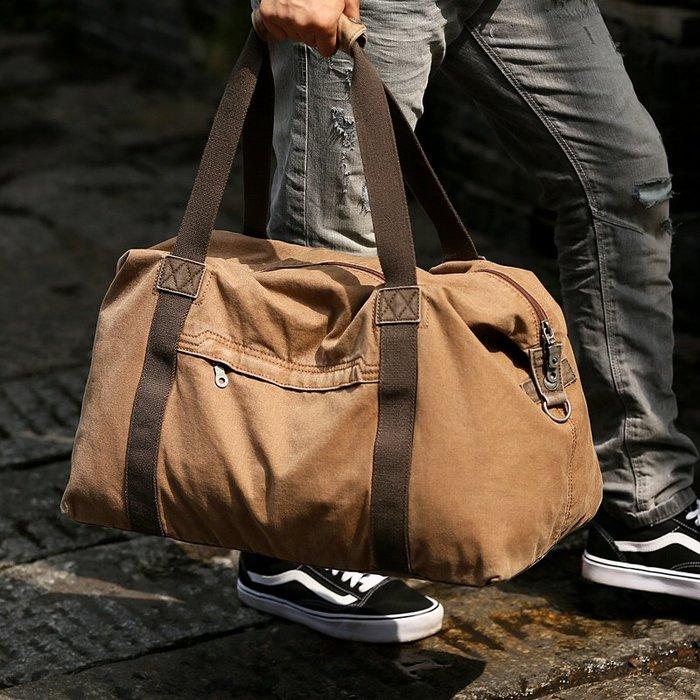 奇奇店#牧之逸休閑帆布復古旅行包男士大容量手提包行李袋短途出差旅游包#運動包#腰包#胸包#背包#運動用品