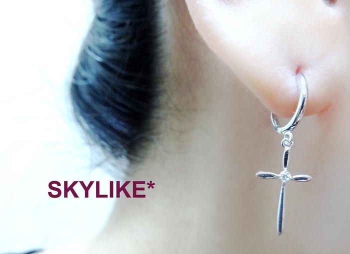 *SKYLIKE* 最可愛-韓國進口585/14K白K金、玫瑰K金、黃K金亮面垂墜鋯石十字架易扣耳環,TO-93644k