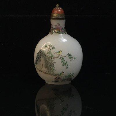 【采芝齋】早期收藏 清代  白色料器 花鳥 琉璃 乾隆年製 鼻煙壺