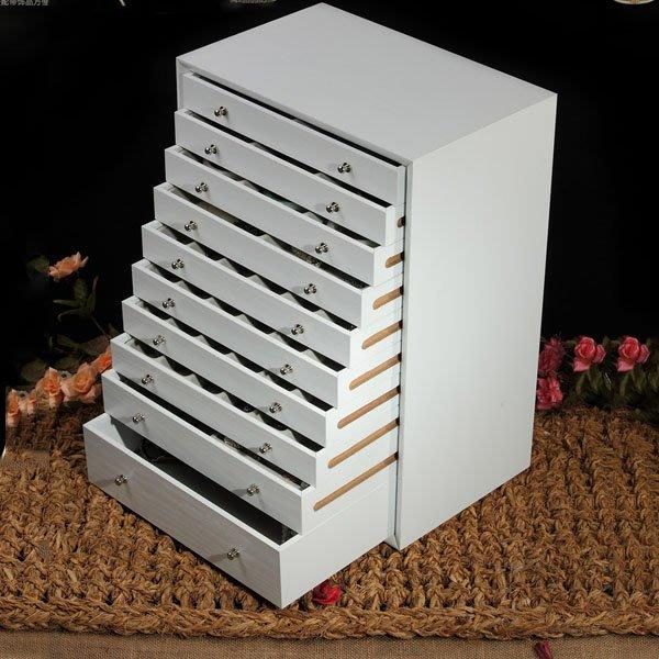 5Cgo【鴿樓】會員有優惠 14136362273 韓式十層抽屜式首飾盒木質 首飾箱 超大容量化妝箱 飾品收納盒