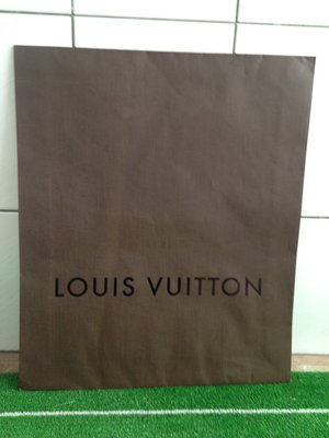 LOUIS VUITTON 二手 深咖啡無提把自黏大紙袋  LV