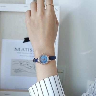手錶 配飾 2020年新款鑲鉆小表盤學生韓版藍色表盤手表女細帶小巧氣質小清新