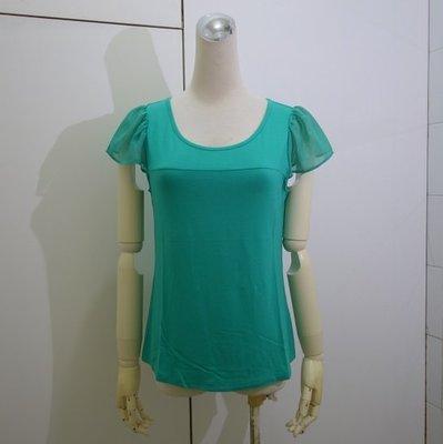 ☆注目の原裝日本專櫃品牌HERES夏新款水湖綠色紗袖短袖棉衫☆