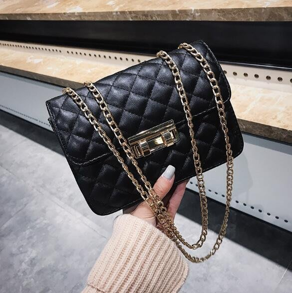 FINDSENSE X 韓國 女士 時尚菱格鏈條 斜挎包 百搭 單肩包 小方包 側背包