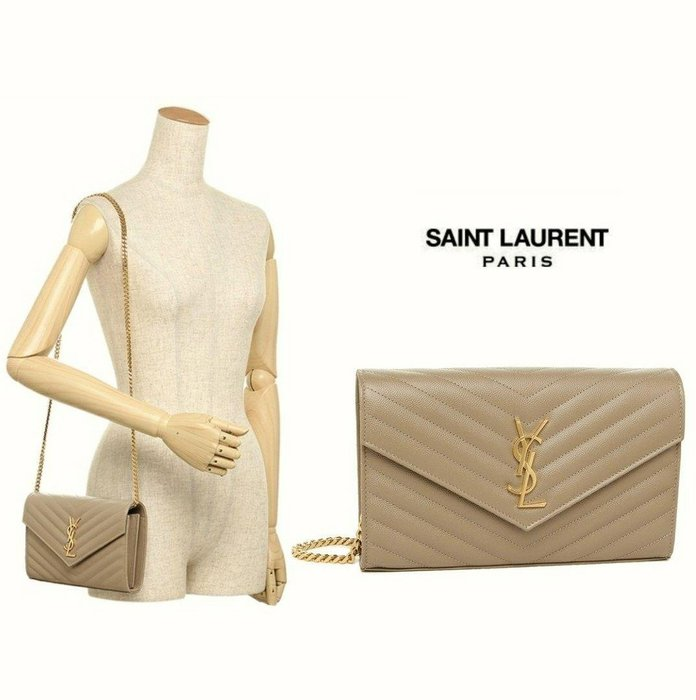 Saint Laurent Paris YSL ( 咖啡裸色×金色 ) 立體金屬LOGO  防刮 真皮長夾 小肩背包 皮夾 錢包 手拿包|100%全新正品|特價