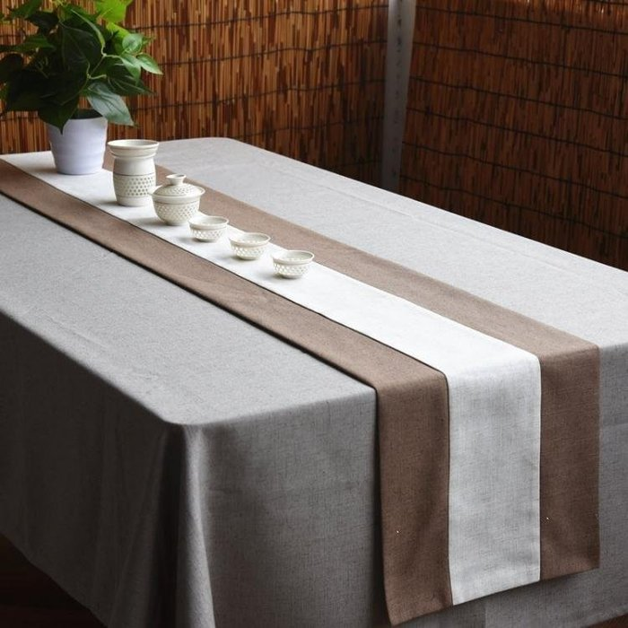 麥麥部落 桌旗中式禪意桌旗純色棉麻桌布日式現代簡約式式茶旗茶室茶MB9D8