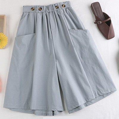 褲裙 舒適感鬆緊腰大口袋釦闊腿褲五分褲 艾爾莎【TAE8480】