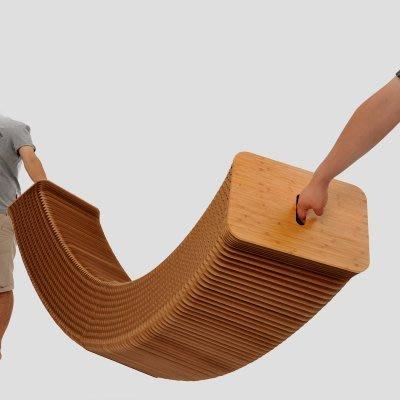 (2.5公尺+6椅墊)創意設計師傢俱 伸縮長凳子 北歐折疊餐椅辦公牛皮紙沙發椅_☆優購好SoGood☆