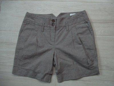 設計師 百貨知名專櫃  西班牙品牌   MANGO MNG  麻33%   棉67% 小格紋  短褲