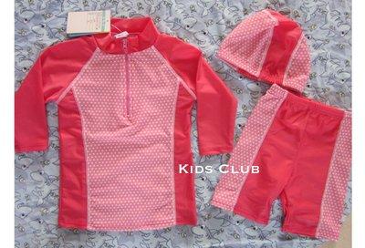 【Kids Club】4/6 歐美品牌嬰兒寶寶女童兒童可愛圓點點防曬長袖上衣游泳衣泳裝泳褲長褲海灘褲泳帽套裝-三件組