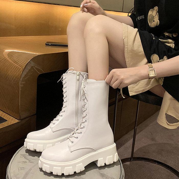 SAS 潮流鬆糕底軍靴 短靴 女軍靴 馬丁靴 厚底馬丁 繫帶中筒靴 女靴 女鞋 厚底軍靴 增高靴 靴子【1315S】