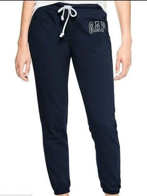GAP美國品牌logo深藍刷毛休閒縮口綿褲 全新 專櫃 正品 女生 S號 直購