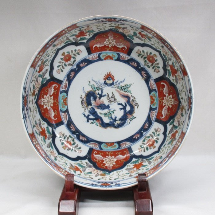 日本 江戶時期 老伊萬里 青花五彩 龍紋水缸