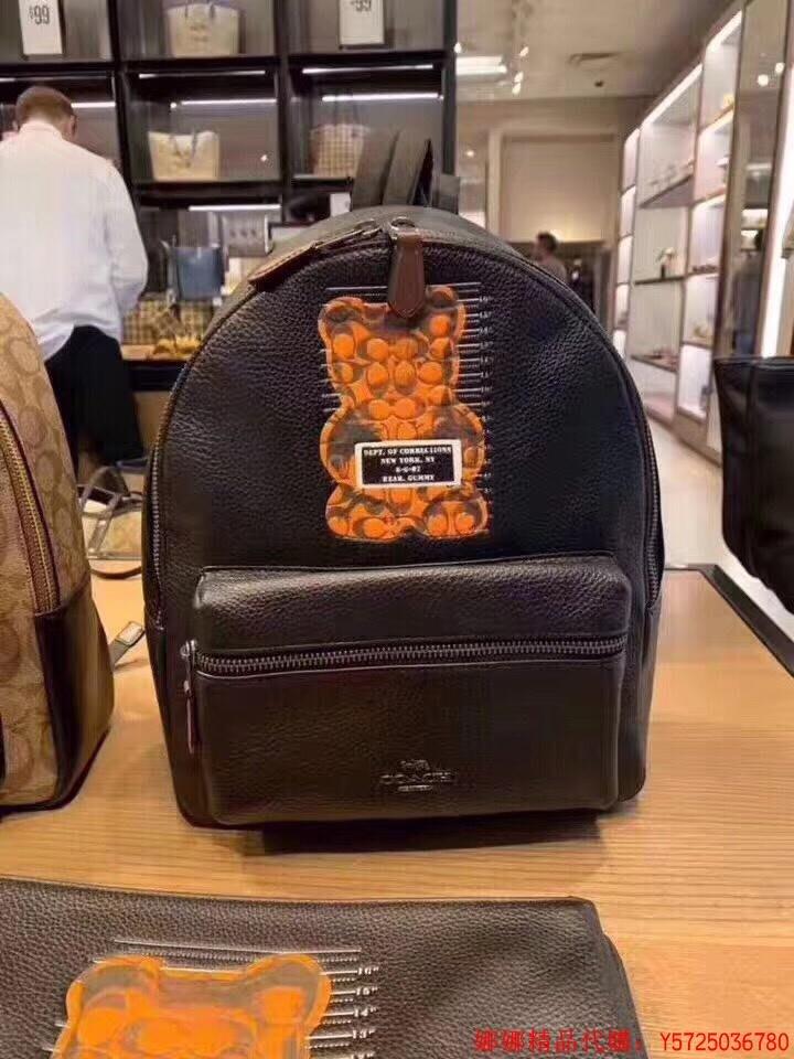 娜娜精品代購 COACH F76656 Vandal Gummy 熊 限量款荔枝牛皮 中款後背包 黑色 附購證