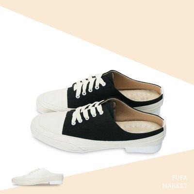 法式小方頭穆勒女鞋 黑/白兩色