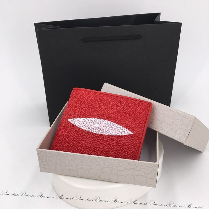 《現貨免運》 高級泰國珍珠魚皮真皮 紅色/黑色/藍色 單眼皮夾短夾 男女同款 生日禮物 情人節禮物  父親節禮物