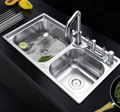 水槽洗菜盆廚房304不銹鋼水槽雙槽套餐一體成型加厚洗菜盆家用單洗碗池水池   全館免運