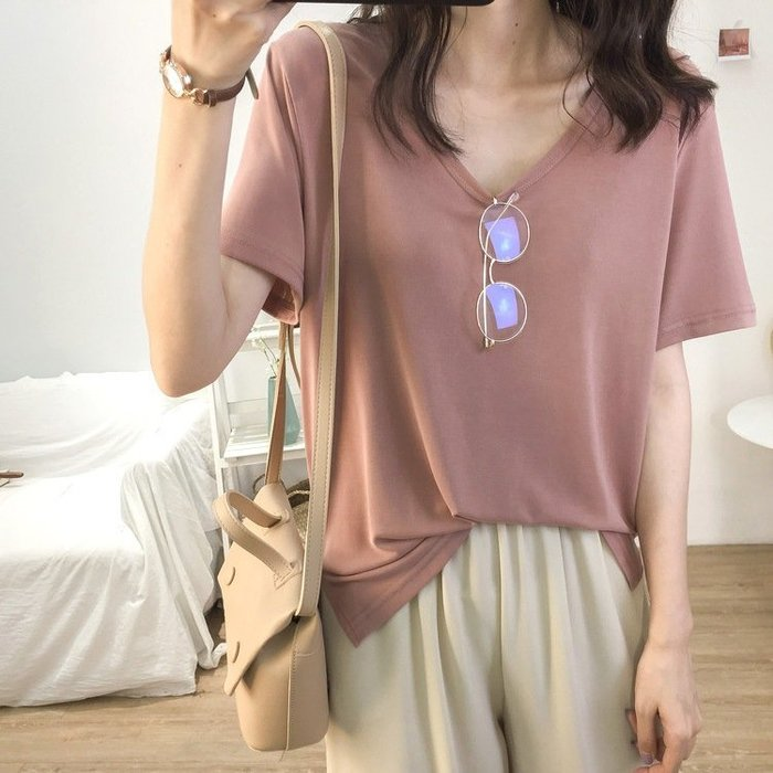 ❤Princess x Shop❤v領素色清涼寬鬆圓領短袖T恤TM09-18-7韓國同款