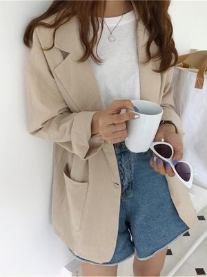店長嚴選韓版秋裝2019女裝新款簡約百搭寬鬆顯瘦純色長袖西裝外套女學生潮