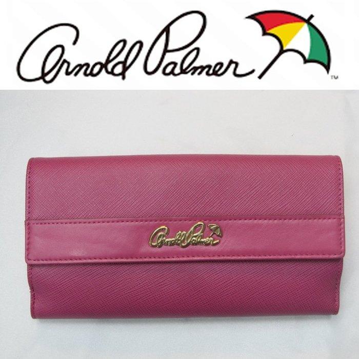 【Arnold Palmer雨傘】牛皮前後扣式復古LOGO五金(附可拆式提帶)-長皮夾↘3.9折出清(最後一個)