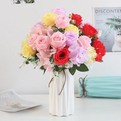 假花歐式仿真花束玫瑰絹花套裝擺件客廳室內裝飾擺設餐桌塑料假花干花不凋花