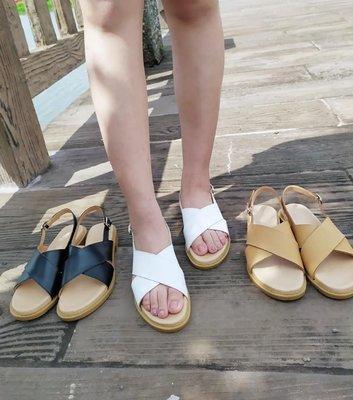 赫本的羅馬假期 交叉羅馬氣墊涼鞋  丹妮鞋屋  台灣真皮手工鞋