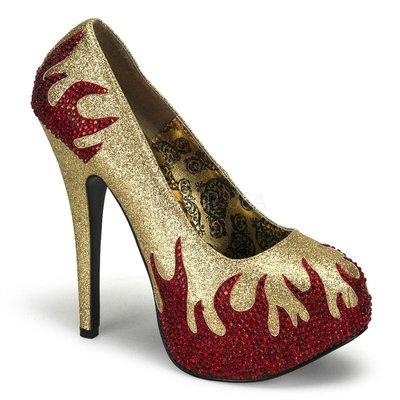 Shoes InStyle《五吋》美國品牌 BORDELLO 原廠正品水鑚漆皮金蔥厚底高跟包鞋 有大尺碼『紅金色』