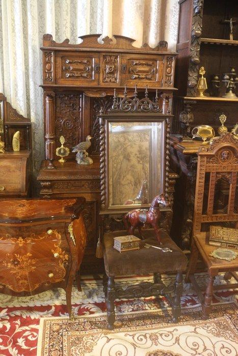 【家與收藏】特價稀有珍藏歐洲百年古董19世紀法國古典精緻珍貴手工黑壇木刻哥德式風格大掛鏡