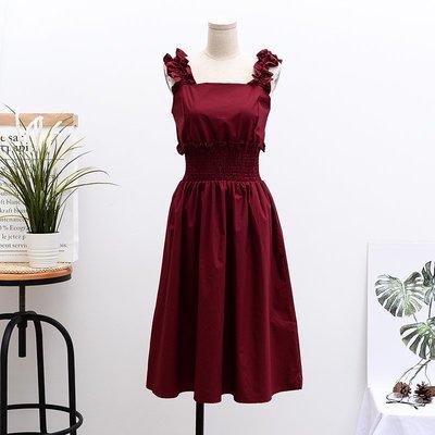 洋裝 正韓韓版方領背帶復古束腰小紅裙2...