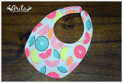 ♥gritas handmade♥純棉手作嬰幼兒圍兜兜/領巾/口水巾/三角巾/彌月禮—甜檸檬韓國二重紗