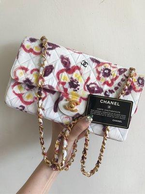 Chanel 花布cf斜背包