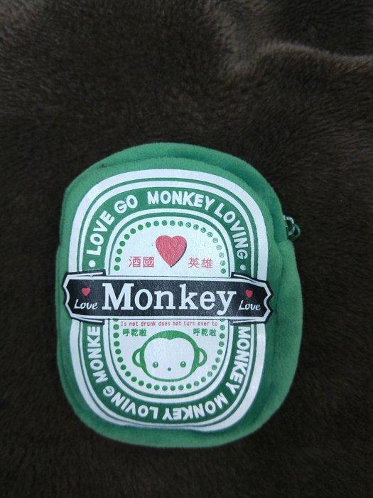 特價品 Monkey 酒國英雄 絨布 零錢包 拉鏈款 小錢包 收納 卡片袋 娃娃機 可面交