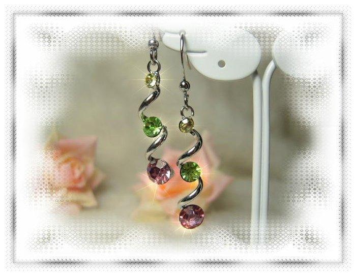 ※水晶玫瑰※ 水晶鑽 耳勾式耳環(DD401)~三件免郵