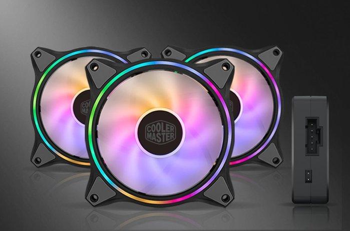 小白的生活工場*Coolermaster MasterFan120 HALO黑色3合1組 雙環式ARGB光效12公分風扇