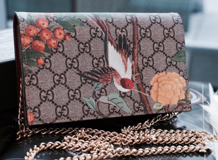 Gucci 424891 Tian printed canvas Bag 花卉鍊帶肩背包