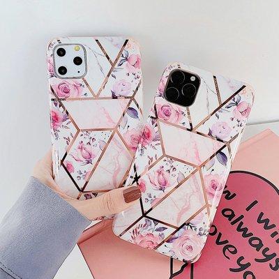 電鍍幾何圖復古粉色花8Plus 適用蘋果11 手機殼XS Max XR指環扣