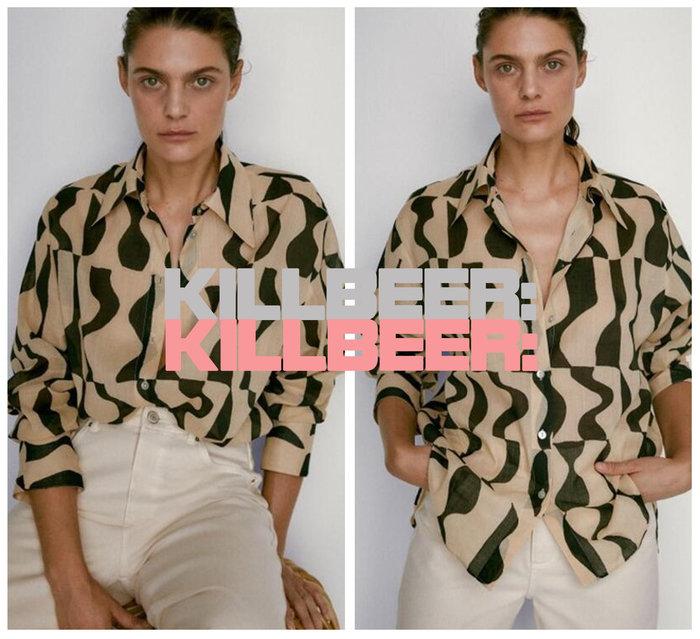 KillBeer:漂丿的都市名媛之歐美復古品牌外流MassimoDutti普普風幾何圓點撞色垂墜寬襯衫上衣A080506