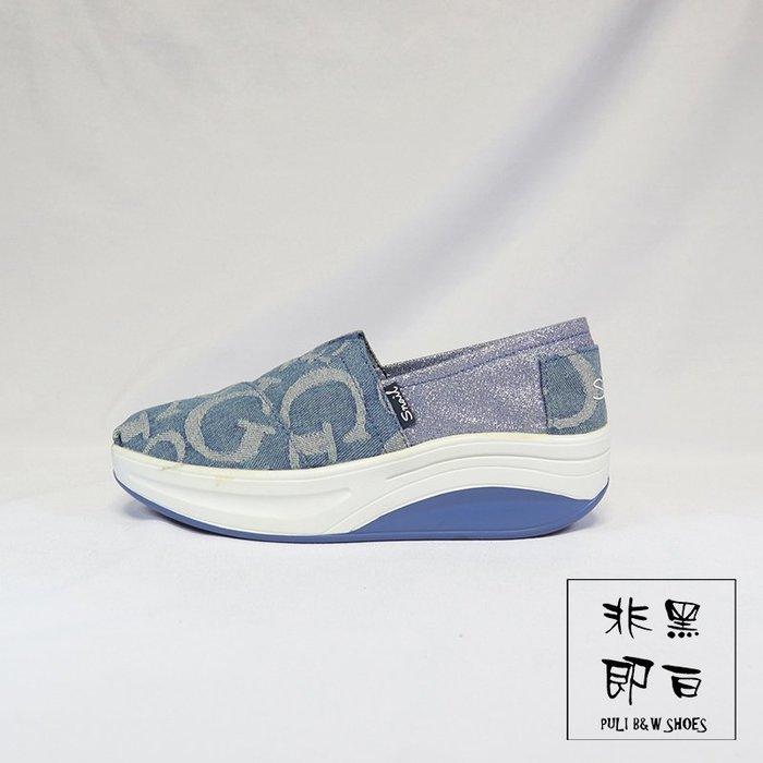 【非黑即白】SNAIL牛仔字母休閒鬆糕健走鞋 平底鞋 休閒鞋 淺藍色 511878