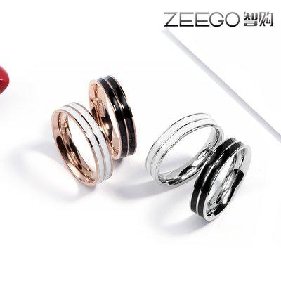 韓版鍍18k玫瑰金雙層黑白戒指女尾戒指男女鈦鋼食指環情侶對戒