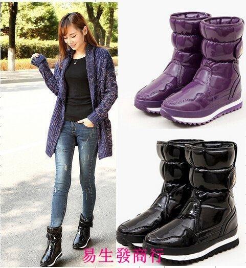 【易生發商行】特價 雜誌推薦正品 時尚中筒漆皮防滑防雨防水雪地靴女F6653