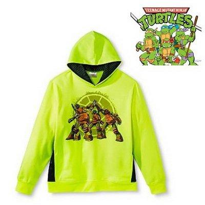 出口美國Ninja Turtles忍者龜瑩光黃連帽刷毛長袖T恤(160cm適用)官網同步大童款