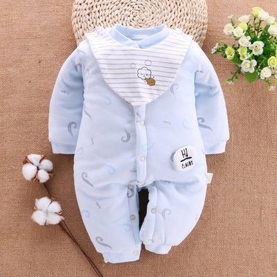 新生嬰兒兒衣服秋冬0-3個月純棉加厚寶寶連體衣保暖棉衣初生冬裝