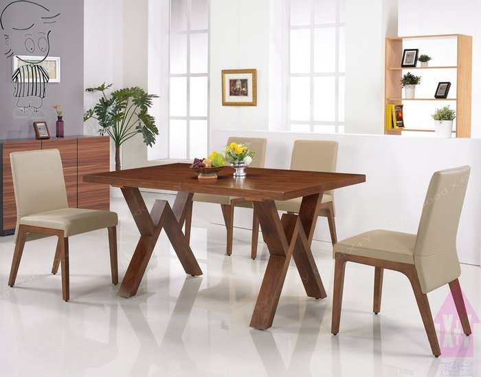 【X+Y時尚精品傢俱】現代餐桌椅系列-金吉兒 5尺胡桃色長方餐桌不含餐椅.簡約風.摩登家具