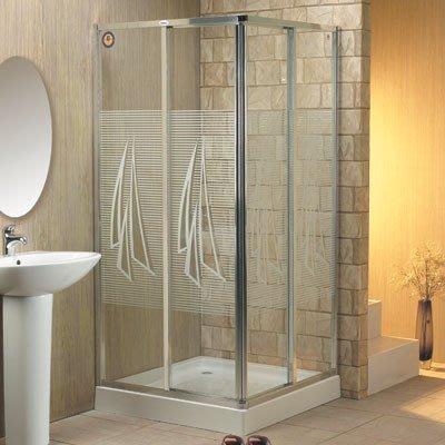 廠商直銷全新4mm強化玻璃對角雙趟浴屏 (連安裝)