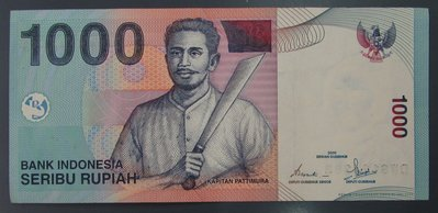dp3796,2000年,印泥 1000 Rupiah 紙幣一張。