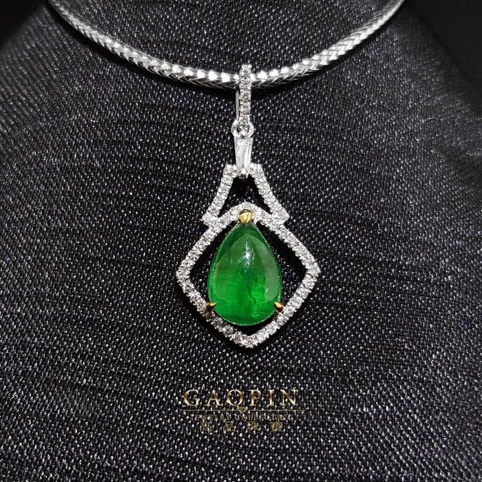 【高品珠寶】1.81克拉尚比亞微油袓母綠墜子 18K #1216