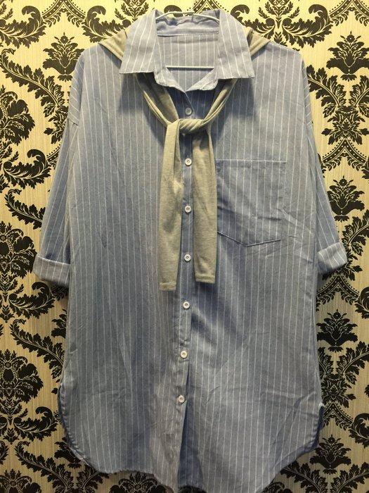 ☀APPLE SHOP☀ 藍色條紋長袖襯衫 上衣 洋裝