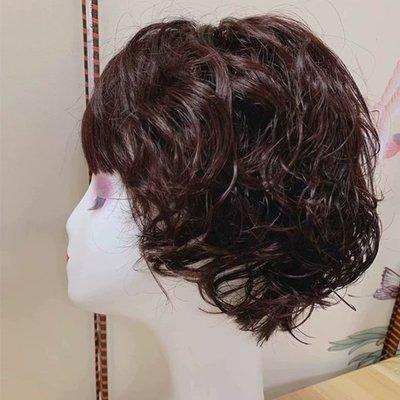 整頂假髮真髮絲短假髮-齊瀏海捲髮逼真透氣女假髮2色73vr37[獨家進口][米蘭精品]