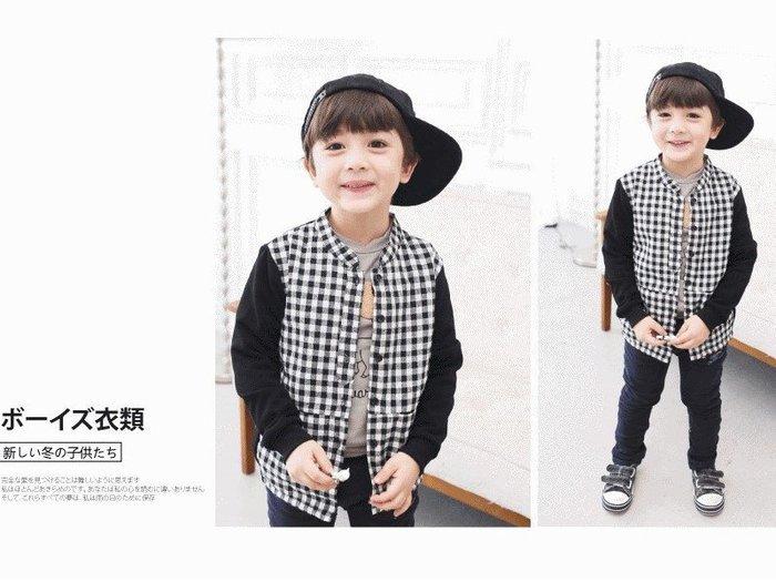 【RB5112418】秋冬款~黑白小方格接黑袖加絨襯衫(可當外套)$199